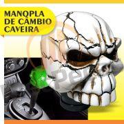 Manopla Bola C�mbio Caveira Branca Tunning Universal Skull Alavanca