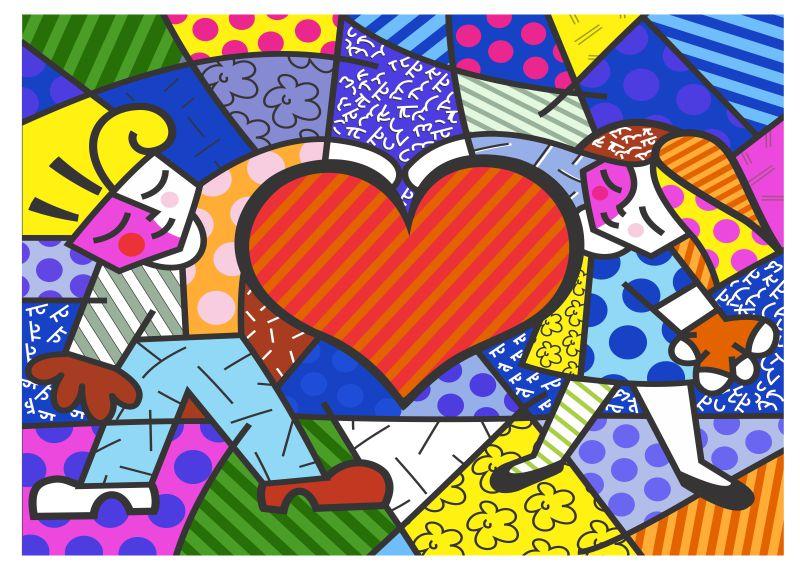 Papel Parede Romero Britto Heart Kids Envio Imediato  R$ 49,00 em Mercado Livre