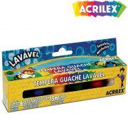 Tinta Guache 15ml Cx C/ 6 Cores Lav�vel 02106 Acrilex - PORT - Inform�tica - Escrit�rio - Papelaria
