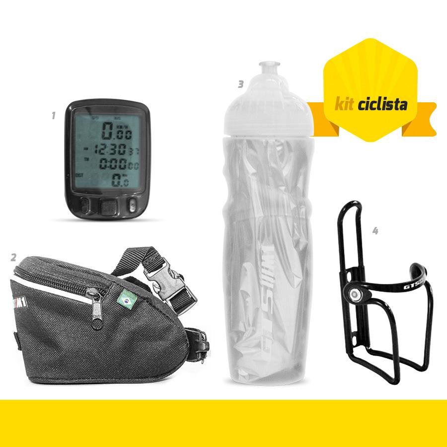 kit Ciclista GTSM1 - Bolsa Selim + Ciclo Computador + Squeeze Térmica + Suporte Squeeze