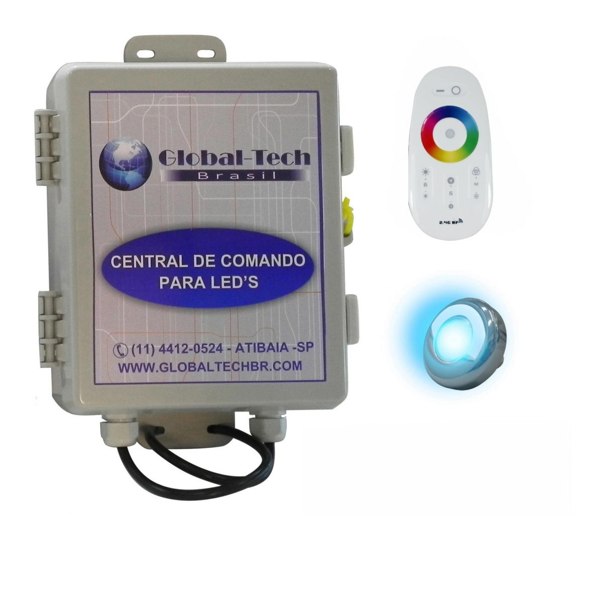 Led Piscina - Kit 1 PowerLed Inox RGB + Central + Controle Touch Screen