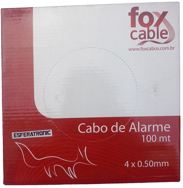 Cabo Alarme Interfone Telefone Branco 4 Vias 0,50mm c / 100 metros - Fox Cable