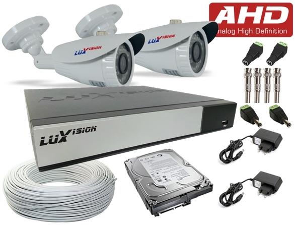 Kit Câmeras de Segurança AHD Completo c / DVR AHD - M de 4 Canais Luxvision + 2 Câmeras Infra AHD Bullet e HD de 1 TB + Cabo, Fonte e Conectores + Brinde