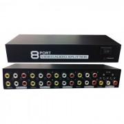 Distribuidor Splitter de Video Composto c/ Audio 1 x 8 portas