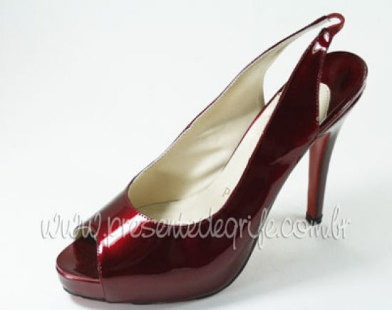 SAPATO CHRISTIAN LOUBOUTIN PEEP TOE PATENTED OPENED
